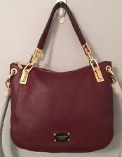 Michael Kors Brooke Leather Medium Shoulder Crossbody Bag Merlot Red NWT $328