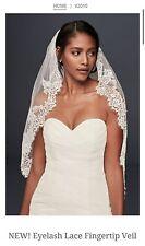 David's Bridal Eyelash Lace Fingertip Veil, V2010, Ivory ($189.95)