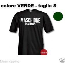 """T-SHIRT maglia S VERDE con scritta SIMPATICA UMORISTICA """" MASCHIONE ITALIANO """""""
