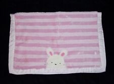 New listing Carters Pink Stripe Bunny Baby Blanket Plush Furry Satin Back Trim Security