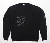 Preworn Mens Size M Cotton Blend Graphic Black Sweatshirt
