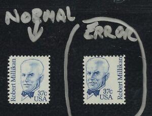 #1866 Error vs. Normal 37cent Robert Millikan stamp Mint Never Hinged - Perfect!