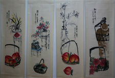 "RARE Chinese 100% Hand Painting 4 Scrolls ""Flowers & Fruits"" By Qi baishi 齐白石 AL"