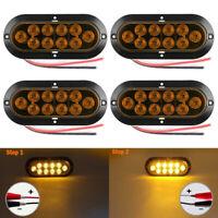 4x LED Oval Turn Brake Truck Trailer Tail Lights Side Marker Lamp Amber 12V-24V