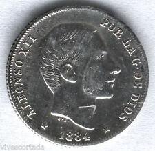 Alfonso XII 1884 Filipinas 20 Centavos Manila M.B.C. @