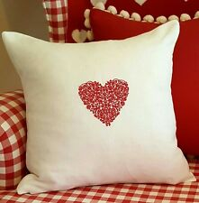 LACE HEART EMBROIDERY LINEN CUSHION COVER NEW MONOGRAM SHABBY CHIC GIFT WEDDING