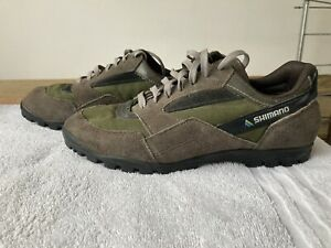 Vintage Mens Brown Suede SPD Shimano Cycling Trainers Size Eu 42 MTB Touring