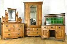 Fine quality Antique oak bedroom suite - wardrobe dressing table washstand