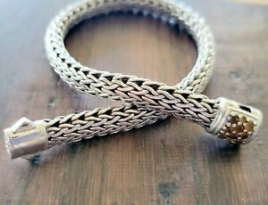"Gorgeous John Hardy Orange/Brown Citrine Stone Clasp Woven Bracelet 7"""