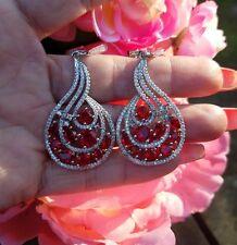 Big Sparkling Lip Stick Red Quartz French Swirl Dangle Earrings, Sterling Silver