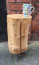 Natural Log stool/side table Metal Pin Legs Maple Seasoned Cracked Weathered