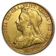 1893-1901-S Australia Gold Sovereign Victoria Veil Head Avg Circ - SKU #40328