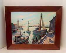 Vntg Paint by Number Sail Ship Boat House Bay Dock Nautical Framed 15� x 16�