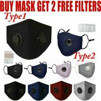 2X Washable Reusable PM2.5 Anti Air Pollution Face Cover Respirator W/ Filters