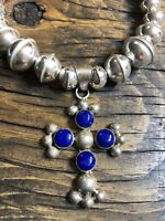 """#1134R Vintage Lapis Cross, Navajo Seamed Bench Bead 18"""" Necklace, Taxco Signed"""