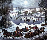 """oil painting on canvas""""skaters, horses, and sleighs in Central Park""""@NO4762"""