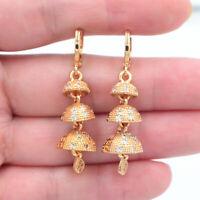 18K Yellow Gold Filled Rainbow Topaz Women Lozenge Dangle Earrings Jewelry