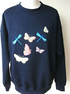 LADIES,WOMENS,NAVY,EMBROIDERED SWEATSHIRTS,TOPS,JUMPER,WITH, A BUTTERFLIES DESI