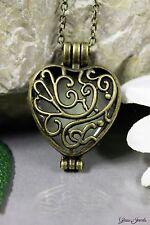 Glass Jewels Bronze Medaillon Halskette Anhänger Herz Leuchtend Blau #N020