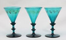 3x antique 18th C White Wine Glass, rare decorated, blue green petrol crystal