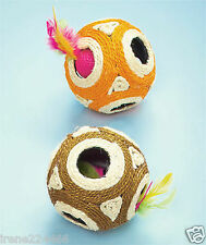 "Set/2 Hide & Seek Cat Scratch Dog Chew Ball Toys 4.5"" sisal plastic w/ball NIP"