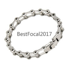Biker Circle Chain Bracelet Bangle Stainless Steel Motorcycle Rock Cool Silver