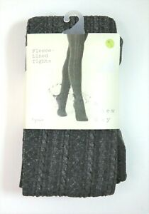 Women's Cable Fleece Lined Tights - A New Day  Charcoal Heather M/L