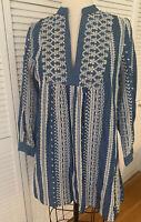 ZARA NEW! NWT Embroidered Blue Cotton BOHO Eyelet MINI DRESS Tunic openwork $69