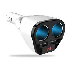 Car Cigarette Lighter Multi Socket Splitter Dual USB Charger Adapter LED Display