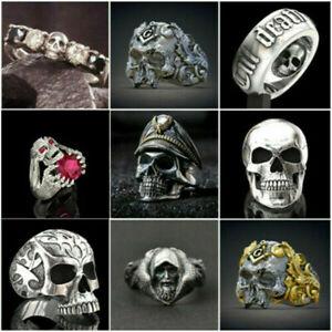 Fashion Men's Titanium Steel Gothic Punk Skull Head Biker Finger Rings Jewelry