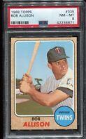 1968 Topps Baseball #335 BOB ALLISON Minnesota Twins PSA 8 NM-MT