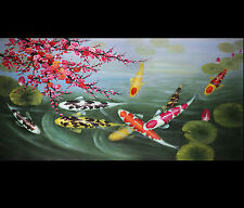 Abstract Art Feng Shui Koi Fish Giclee Canvas Print of Original Oil Painting