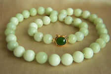 "Amazing Vintage Chinese Nephrite Celadon Jade Sterling Necklace  20"" 69.2 g"