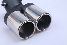 silver UNIVERSAL TWIN CHROME EXHAUST MUFFLER TIP FOR ALL CAR CALIBER 6.3cm 1PC