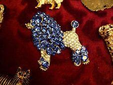 HUGE IMPRESSIVE SAPPHIRE Crystal BLUE Poodle Dog BROOCH,Pudel,Caniche