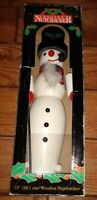 Wooden Nutcracker snowman with pipe and Hat Christmas Home Decor in box