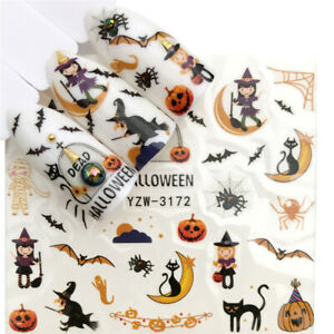 Nail Art Stickers Water Decals Transfers Halloween 2021 Bats, Witches, Spiders
