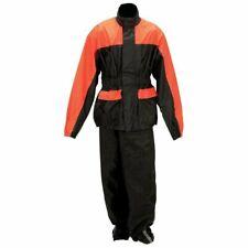 Motorcycle Rain Suit Gear Black & Orange 2 Piece Suit New  L/XL