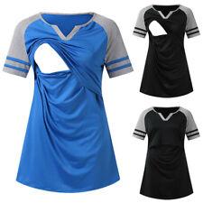 Women Summer Short Sleeve T Shirt Breastfeeding Blouse Casual Splice Nursing Top