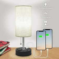 USB Table Lamps for Bedroom,Bedside Lamp with Dual Charging Ports