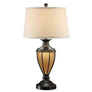 Brushed Bronze Table Lamp + Glass Urn Base  w LED Night Light