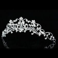 Bridal Bridesmaid Flower Girl Rhinestones Crystal Pearl Wedding Tiara Comb 8621