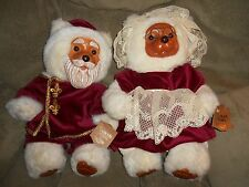 "Vtg 1988 Raikes 18"" Mr/Mrs Claus Santa Bears/Christmas Bears w/Orig Hand Tags"