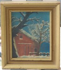 American Oil-1930's-Red Barn In Winter-Unsigned-High Quality-Little Gem