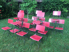 1/17 Vintage French folding garden patio outdoor caffe bar metal chairs industry