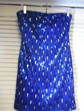 LADIES SAN SOUCI SIZE LARGE SEQUENCED CLUBWEAR DRESS BLING SEXY BLUE PEACOCK