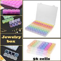 Plastic 56 Slots Adjustable Jewelry Storage Box Case Craft Organizer Bead Clear-