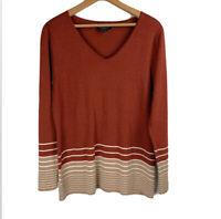 PENDLETON Woolen Mills Women's Petite L 100% Merino Wool Sweater Rust Tan V-Neck