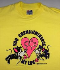 Vintage Mens M 80s 90s Funny Chemistry Love You Light Up My Life Yellow T-Shirt