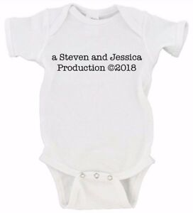 Custom Production Baby Announcement Onesie Custom Name and Date Option Cute